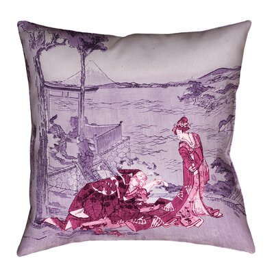 Enya Japanese Double Sided Print Courtesan Throw Pillow with Insert Size: 14 x 14, Color: Pink/Purple