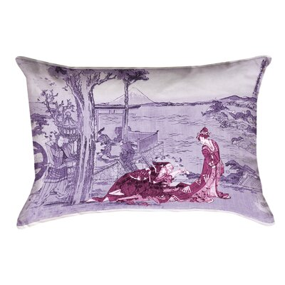 Enya Japanese Courtesan Double Sided Print Lumbar Pillow  Color: Pink/Purple