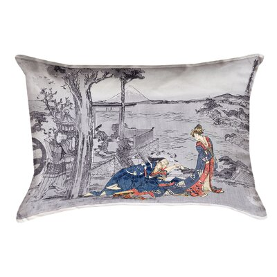 Enya Japanese Courtesan Double Sided Print Lumbar Pillow  Color: Blue