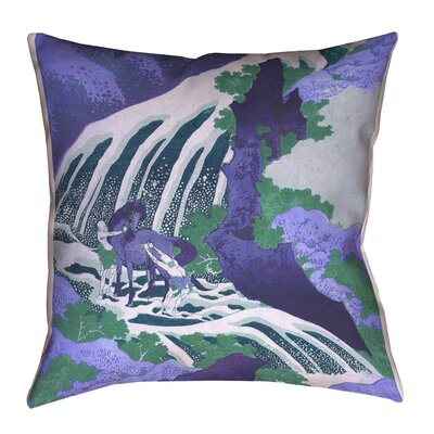 Yasmina Modern Horse and Waterfall Linen Throw Pillow Size: 14 x 14