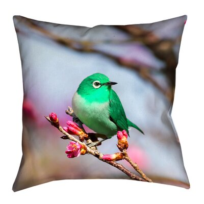 Roughton Cottage Green Bird Throw Pillow