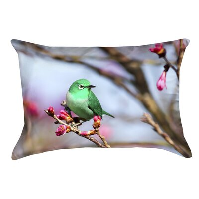 Roughton Green Bird Linen Lumbar Pillow