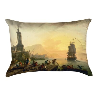 Stiles Vernet Mediterranean Port Outdoor Lumbar Pillow