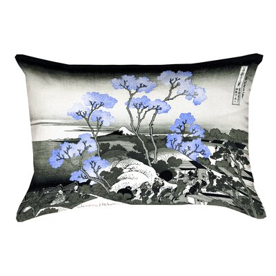 Clair Fuji and Cherry Blossoms Linen Lumbar Pillow Color: Blue