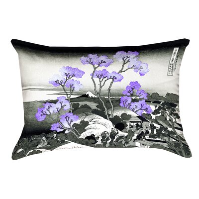 Clair Fuji and Cherry Blossoms Linen Lumbar Pillow Color: Purple