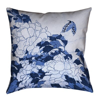 Clair Peonies and Butterfly Square Cotton Throw Pillow Size: 14 H x 14 W, Color: Blue