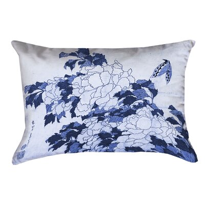 Clair Peonies and Butterfly Suede Pillow Cover Color: Blue