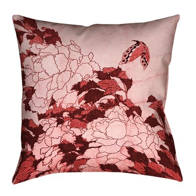 Clair Peonies and Butterfly Indoor Square Pillow Cover Size: 14 H x 14 W, Color: Red