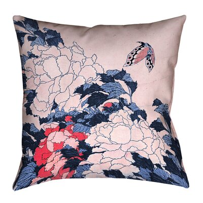 Clair Peonies and Butterfly Indoor Square Pillow Cover Size: 14 H x 14 W, Color: Blue/Pink