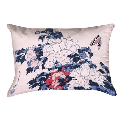 Clair Peonies and Butterfly Outdoor Lumbar Pillow Color: Blue/Pink