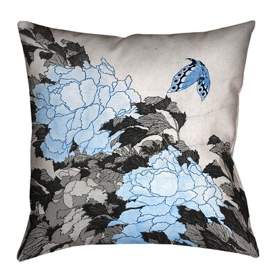 Clair Peonies and Butterfly Square Suede Throw Pillow Size: 18 H x 18 W, Color: Blue