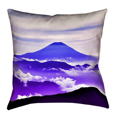 Enciso Fuji Linen Throw pillow Size: 14 H x 14 W, Color: Blue/Purple