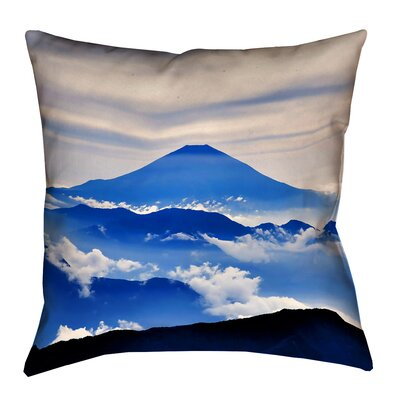 Enciso Fuji Square Outdoor Throw pillow Size: 16 H x 16 W, Color: Blue