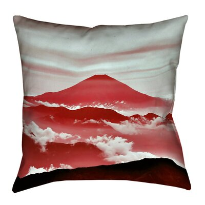 Enciso Fuji Square Throw pillow Size: 18 H x 18 W, Color: Red