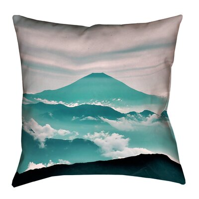 Enciso Fuji Square Throw pillow Size: 28 H x 28 W, Color: Green