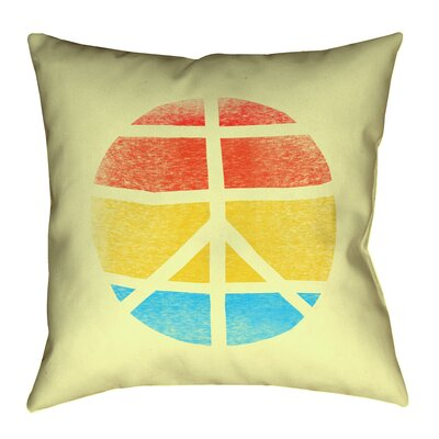 Jackie Peace Sign Linen Pillow Cover Size: 14 H x 14 W