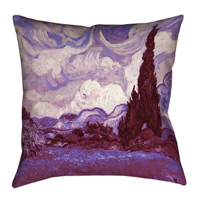 Lapine Mauve Wheatfield with Cypresses Cotton Lumbar Pillow