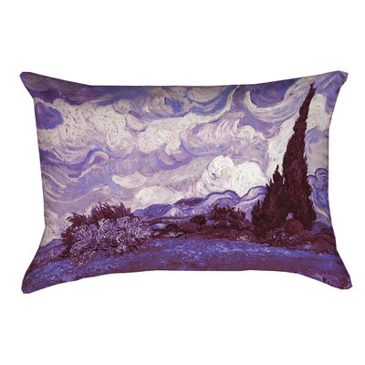Lapine Mauve Wheatfield with Cypresses Rectangular Lumbar Pillow