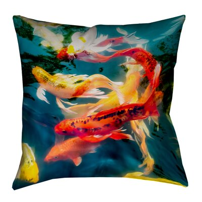Kalie Koi Pond Suede Pillow Cover Size: 14 x 14