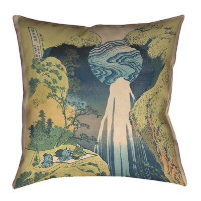 Rinan Japanese Waterfall 100% Cotton Pillow Cover Size: 16 x 16