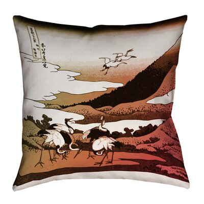 Montreal Japanese Cranes Linen Throw Pillow Size: 26 x 26, Pillow Cover Color: Red