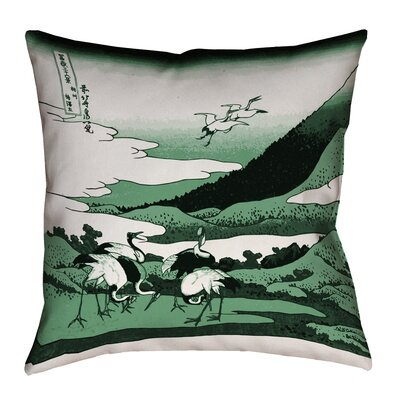 Montreal Japanese Cranes Outdoor Throw Pillow Size: 18 x 18 , Pillow Cover Color: Green