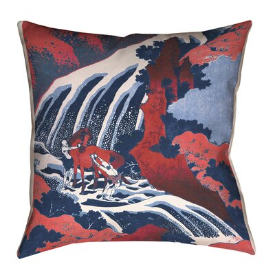 Channelle Horse and Waterfall Square Pillow Cover Size: 14 x 14, Color: Red/Blue