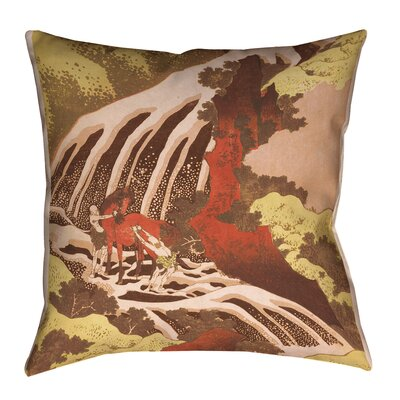 Channelle Horse and Waterfall Indoor/Outdoor Throw Pillow Size: 16 x 16, Color: Yellow/Brown