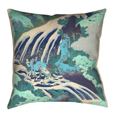 Channelle Horse and Waterfall Square Throw Pillow Size: 18 x 18, Color: Teal