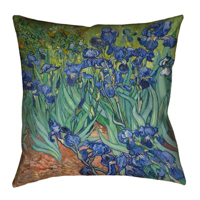 Morley Irises Square Cotton Pillow Cover Size: 16 x 16, Color: Teal/Blue