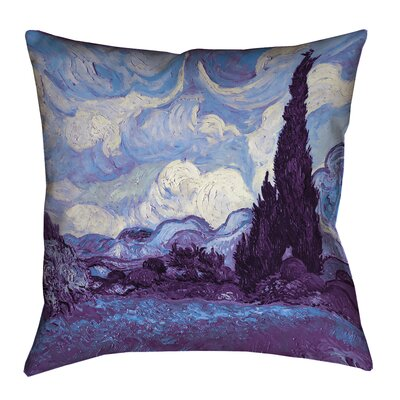 Morley Wheat Field with Cypresses Square 100% Cotton Throw Pillow Size: 14 x 14