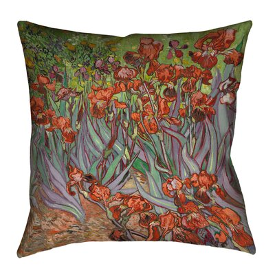 Morley Irises Square Floor Pillow Size: 28 x 28, Color: Red/Yellow