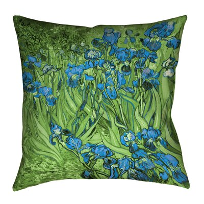 Morley Irises Square Cotton Pillow Cover Size: 16 x 16, Color: Green/Blue