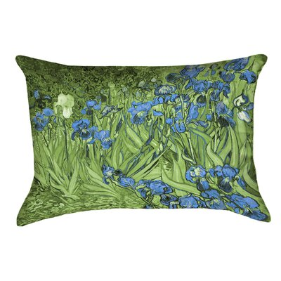 Morley Irises Double Sided Print Rectangle Pillow Cover Color: Green/Blue
