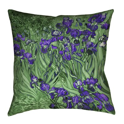 Morley Irises Square Cotton Pillow Cover Size: 14 x 14, Color: Green/Purple