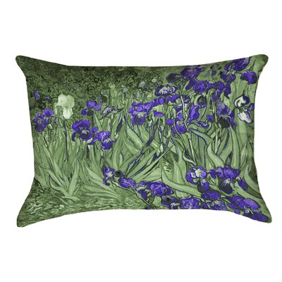 Morley Irises Linen Lumbar Pillow Color: Green/Purple