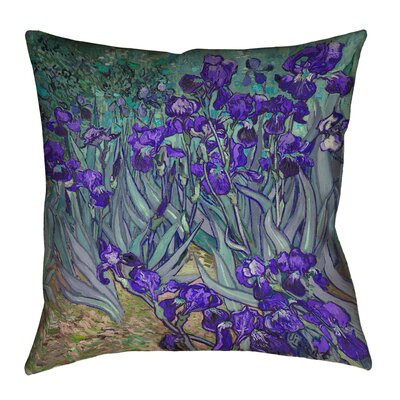 Morley 14 x 14 Irises in Green and Blue Pillow - Spun Polyester Double sided print with concealed zipper & Insert Color: Purple, Size: 16 x 16