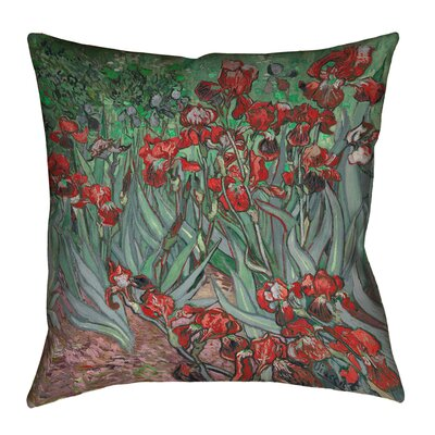 Morley Irises Throw Pillow Size: 16 x 16, Color: Red/Green
