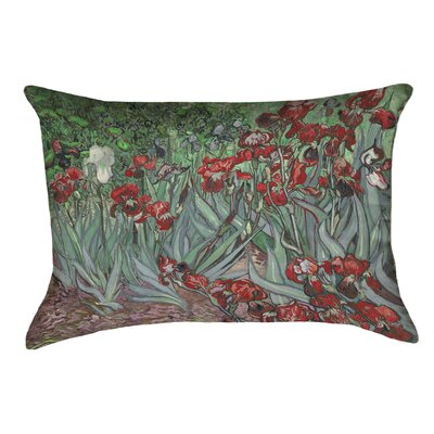 Morley Irises Linen Lumbar Pillow Color: Red