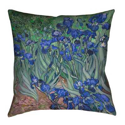 Morley 16 x 16 Irises in Blue Outdoor Pillows & Cushions UV Properties + Waterproof and Mildew Proof Size: 16 x 16