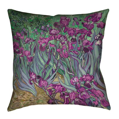 Morley Irises Double Sided Print Pillow Cover Size: 16 x 16, Color: Pink/Green