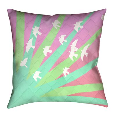 Enciso Birds and Sun Square 100% Cotton Pillow Cover Size: 14 x 14, Color: Green/Pink