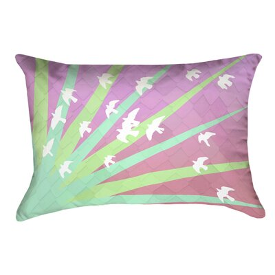 Enciso Birds and Sun Lumbar Pillow with Zipper Color: Green/Pink