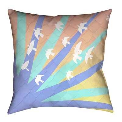 Enciso Birds and Sun Square 100% Cotton Pillow Cover Size: 14 x 14, Color: Blue/Orange