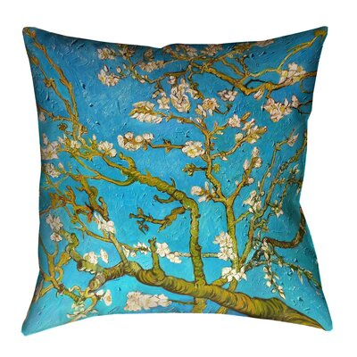 Lei Almond Blossom Outdoor Throw Pillow Size: 18 x 18, Color: Blue/Yellow