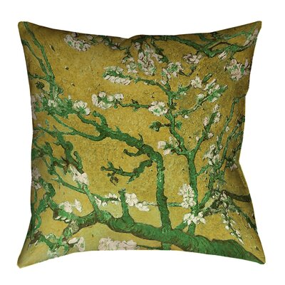 Lei Almond Blossom Outdoor Throw Pillow Color: Yellow/Green, Size: 16 x 16
