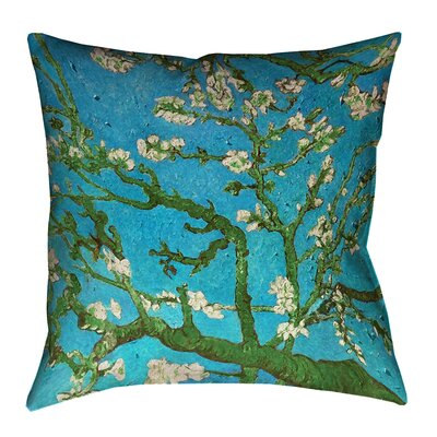 Lei Almond Blossom Throw Pillow Size: 18 x 18, Color: Blue/Green