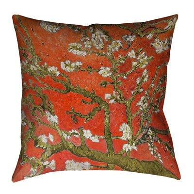 Lei Almond Blossom Outdoor Throw Pillow Color: Orange, Size: 16 x 16