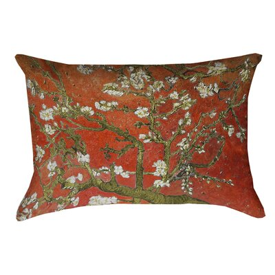 Lei Almond Blossom Linen Lumbar Pillow Color: Red