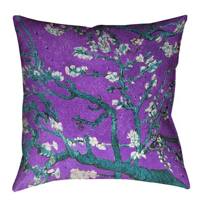 Lei Almond Blossom Outdoor Throw Pillow Size: 18 x 18, Color: Purple/Blue